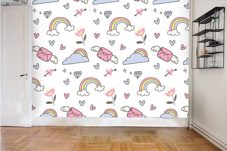 Dick Smith 3d Envelope Floral Rainbow Heart Clouds Wall Mural Wallpaper 59 Premium Non Woven Paper W 525cm X H 295cm Wallpaper Murals Wallpaper