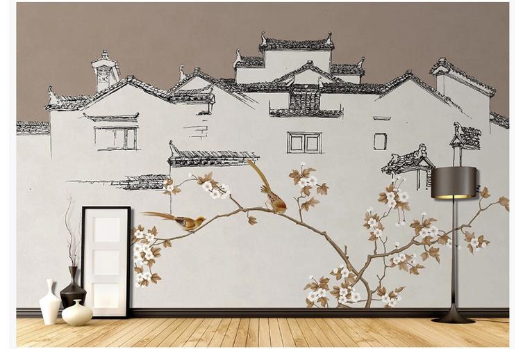 3D retro chinese building floral wall mural Wallpaper 193 Premium Non-Woven Paper-W: 525cm X H: 295cm