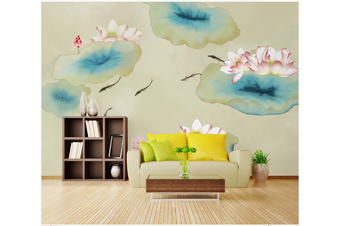 3D ink lotus carp wall mural Wallpaper 187 Premium Non-Woven Paper-W: 420cm X H: 260cm