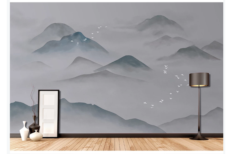3D abstract mountain landscape wall mural Wallpaper 185 Premium Non-Woven Paper-W: 320cm X H: 225cm