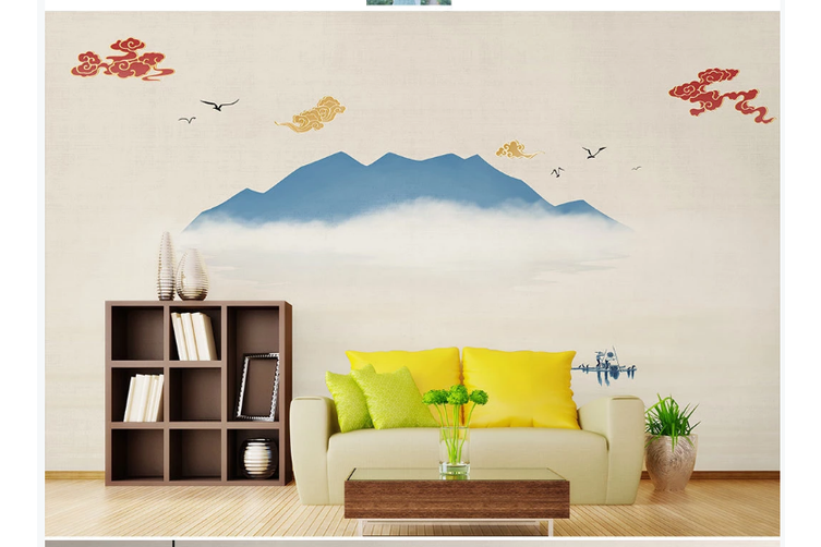 3D abstract ink mountain wall mural Wallpaper 178 Premium Non-Woven Paper-W: 320cm X H: 225cm