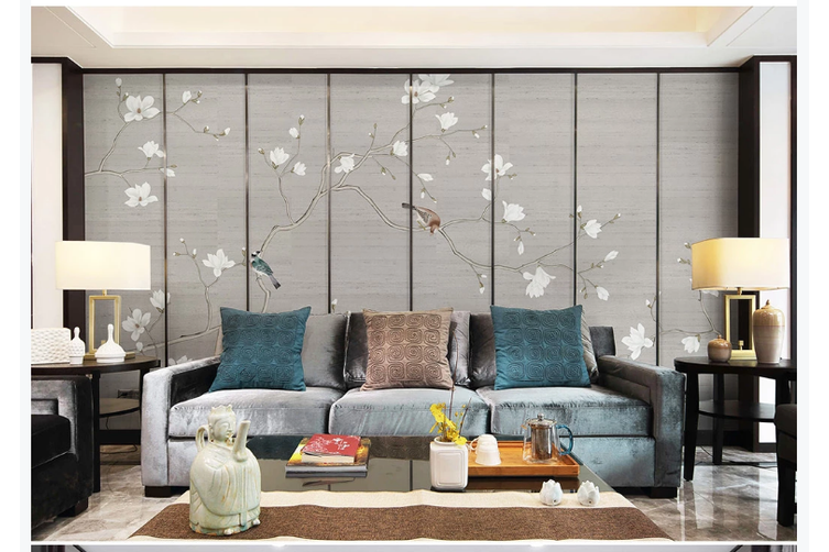 3D hand painting magnolia birds wall mural Wallpaper 175 Premium Non-Woven Paper-W: 210cm X H: 146cm