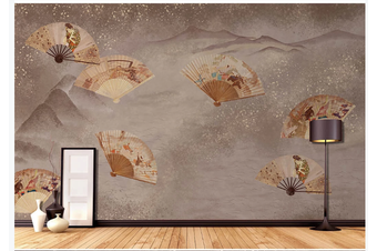 3D retro chinese fan mountain wall mural Wallpaper 173 Premium Non-Woven Paper-W: 210cm X H: 146cm