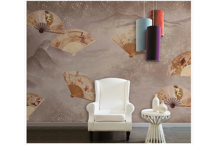 3D retro chinese fan mountain wall mural Wallpaper 173 Premium Non-Woven Paper-W: 320cm X H: 225cm