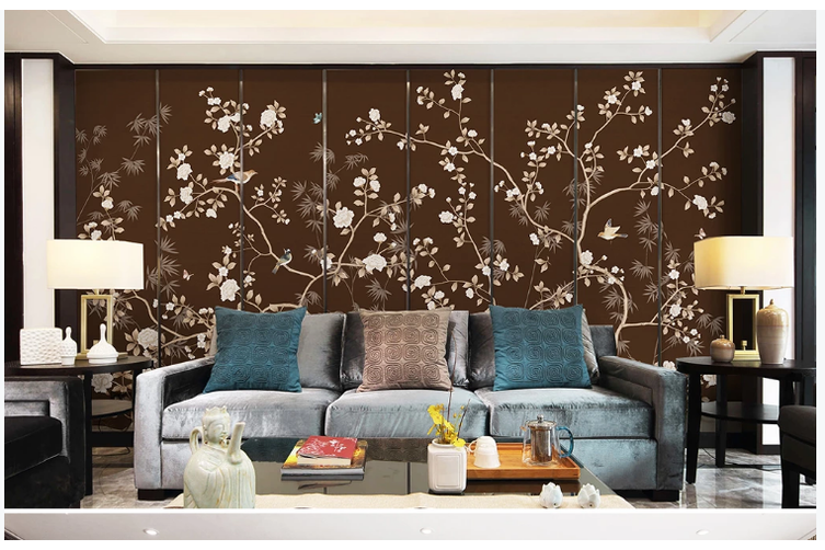 3D hand painting peony bamboo wall mural Wallpaper 170 Premium Non-Woven Paper-W: 420cm X H: 260cm