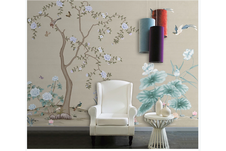 3D hand painting peony lotus birds wall mural Wallpaper 169 Premium Non-Woven Paper-W: 320cm X H: 225cm