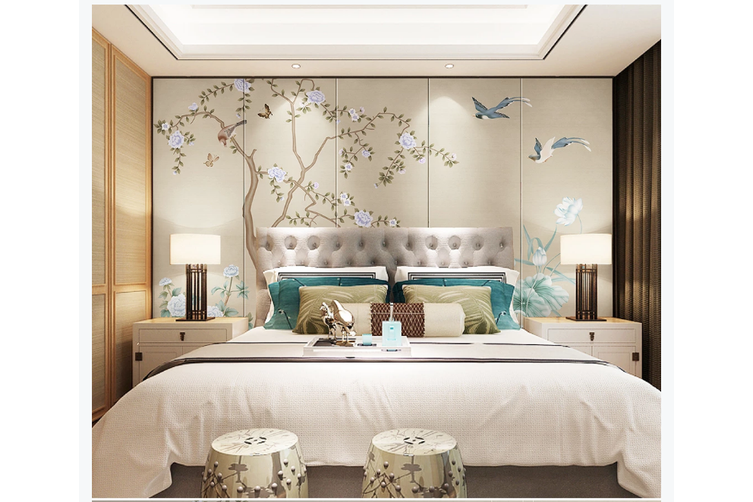 3D hand painting peony lotus birds wall mural Wallpaper 169 Premium Non-Woven Paper-W: 420cm X H: 260cm
