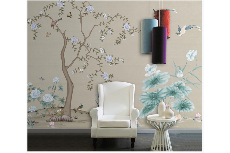 3D hand painting peony lotus wall mural Wallpaper 168 Premium Non-Woven Paper-W: 525cm X H: 295cm