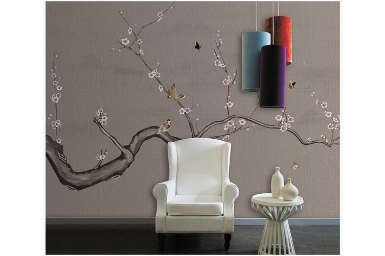 3D plum blossom butterfly birds wall mural Wallpaper 164 Premium Non-Woven Paper-W: 420cm X H: 260cm