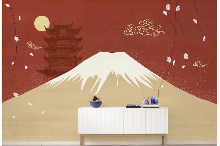 3D hand painting mountain clouds wall mural Wallpaper 162 Premium Non-Woven Paper-W: 320cm X H: 225cm