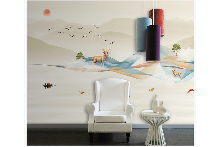 3D abstract mountain elk wall mural Wallpaper 161 Premium Non-Woven Paper-W: 525cm X H: 295cm