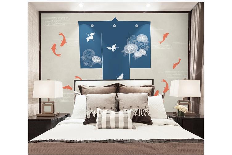 3D white crane clouds carp wall mural Wallpaper 157 Premium Non-Woven Paper-W: 420cm X H: 260cm