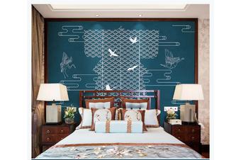 3D abstract crane clouds wall mural Wallpaper 155 Premium Non-Woven Paper-W: 420cm X H: 260cm