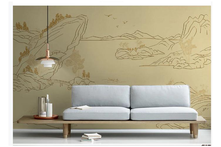 3D line drawing mountain landscape wall mural Wallpaper 154 Premium Non-Woven Paper-W: 525cm X H: 295cm