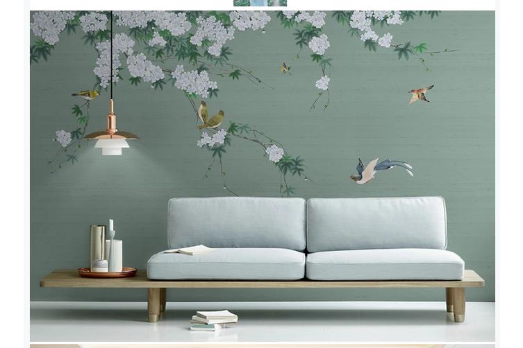 3D hand painting floral birds wall mural Wallpaper 153 Premium Non-Woven Paper-W: 320cm X H: 225cm