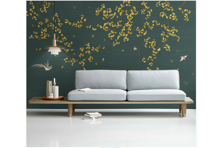 3D hand painting ginkgo leaves wall mural Wallpaper 152 Premium Non-Woven Paper-W: 320cm X H: 225cm