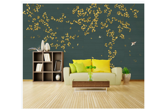3D hand painting ginkgo leaves wall mural Wallpaper 152 Premium Non-Woven Paper-W: 420cm X H: 260cm