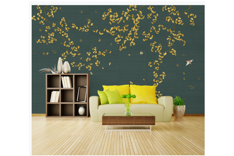 3D hand painting ginkgo leaves wall mural Wallpaper 152 Premium Non-Woven Paper-W: 525cm X H: 295cm