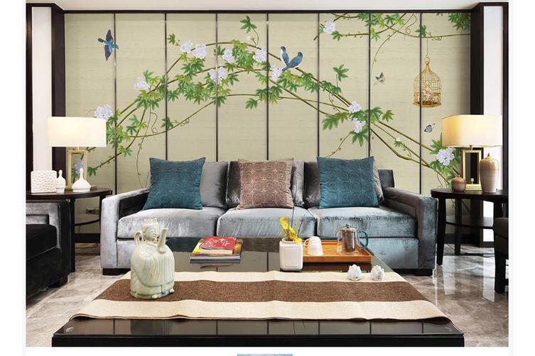 3D hand painting green vine leaves wall mural Wallpaper 150 Premium Non-Woven Paper-W: 320cm X H: 225cm