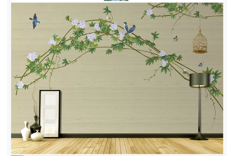 3D hand painting green vine leaves wall mural Wallpaper 150 Premium Non-Woven Paper-W: 420cm X H: 260cm