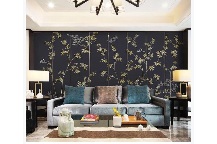 3D hand painting golden bamboo wall mural Wallpaper 146 Premium Non-Woven Paper-W: 210cm X H: 146cm