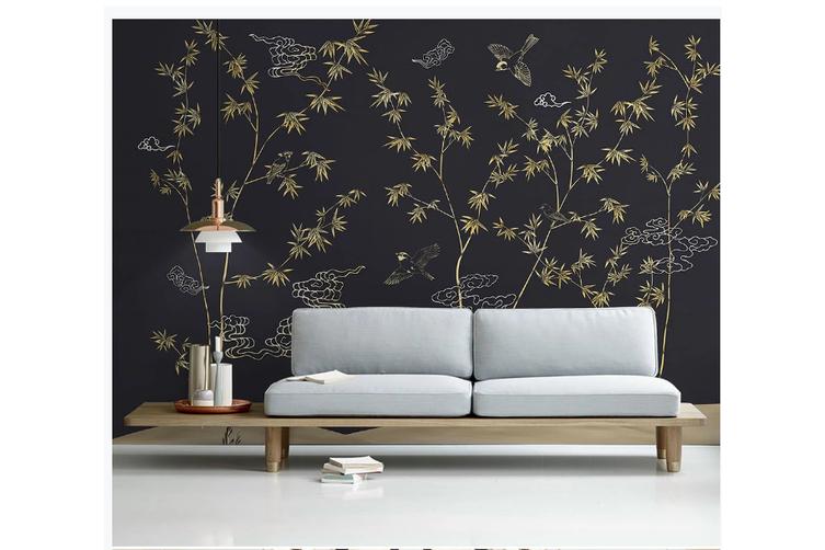 3D hand painting golden bamboo wall mural Wallpaper 146 Premium Non-Woven Paper-W: 320cm X H: 225cm