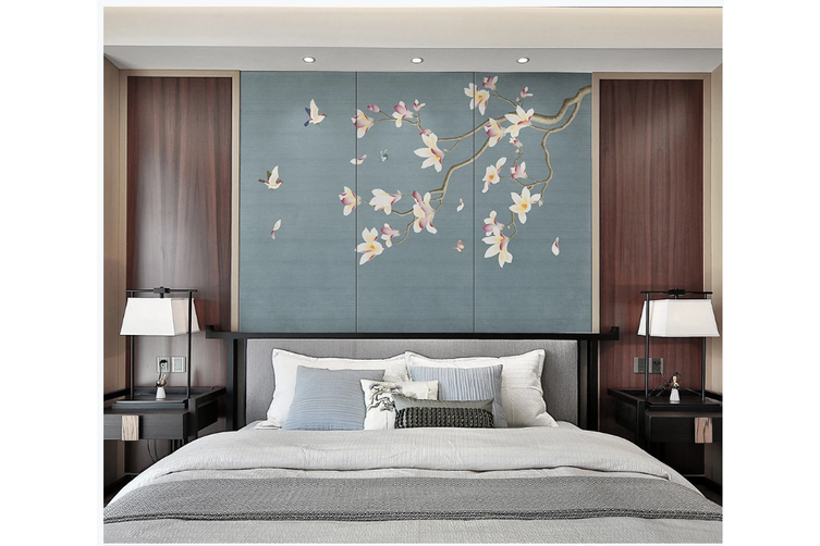 3D hand painting magnolia blossom wall mural Wallpaper 142 Premium Non-Woven Paper-W: 320cm X H: 225cm