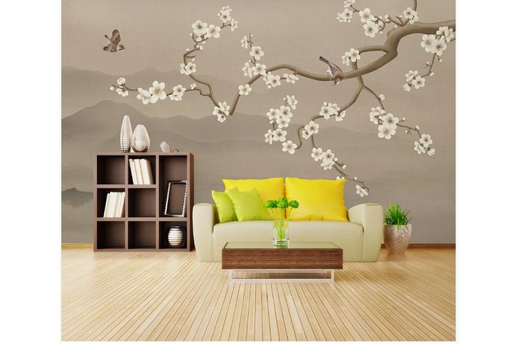 3D hand painting plum blossom wall mural Wallpaper 140 Premium Non-Woven Paper-W: 210cm X H: 146cm
