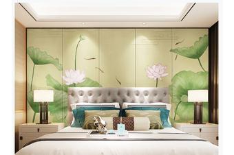 3D chinese painting carp lotus wall mural Wallpaper 135 Premium Non-Woven Paper-W: 320cm X H: 225cm