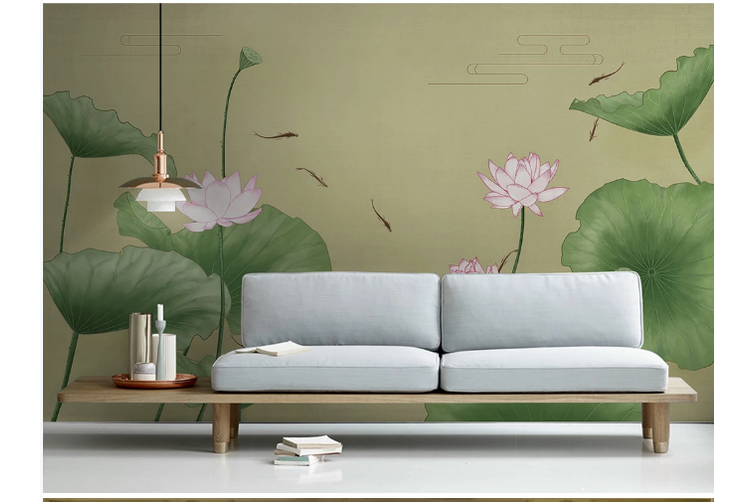 3D chinese painting carp lotus wall mural Wallpaper 135 Premium Non-Woven Paper-W: 525cm X H: 295cm