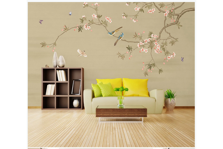 3D hand painting magnolia floral wall mural Wallpaper 134 Premium Non-Woven Paper-W: 320cm X H: 225cm