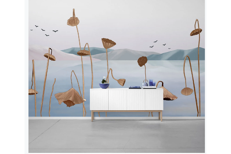 3D ink lotus landscape wall mural Wallpaper 133 Premium Non-Woven Paper-W: 210cm X H: 146cm
