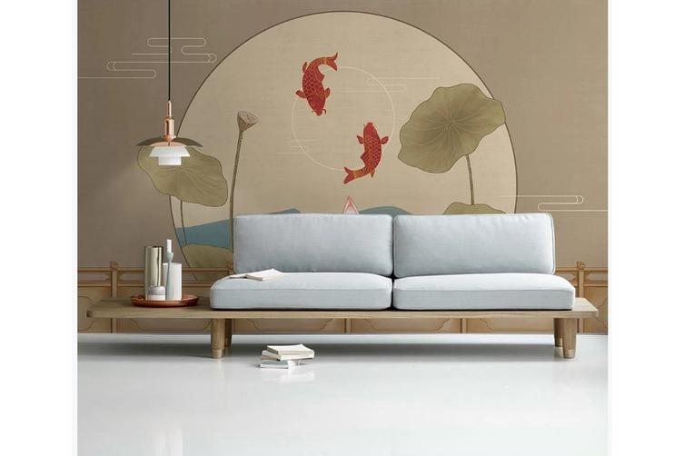 3D chinese painting carp lotus wall mural Wallpaper 132 Premium Non-Woven Paper-W: 210cm X H: 146cm