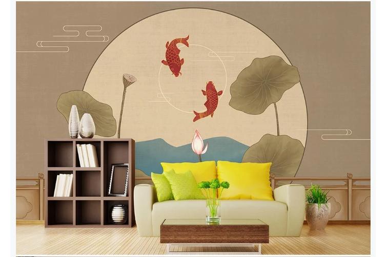 3D chinese painting carp lotus wall mural Wallpaper 132 Premium Non-Woven Paper-W: 525cm X H: 295cm