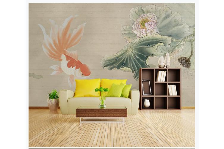 3D hand painting carp lotus wall mural Wallpaper 131 Premium Non-Woven Paper-W: 320cm X H: 225cm