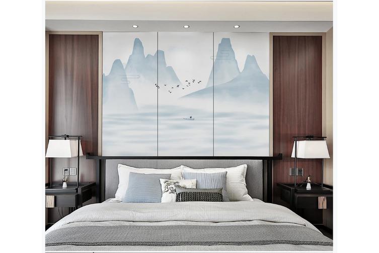 3D blue chinese ink landscape wall mural Wallpaper 129 Premium Non-Woven Paper-W: 525cm X H: 295cm