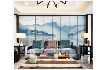 3D blue chinese ink landscape wall mural Wallpaper 128 Premium Non-Woven Paper-W: 210cm X H: 146cm