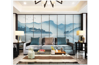 3D blue chinese ink landscape wall mural Wallpaper 128 Premium Non-Woven Paper-W: 420cm X H: 260cm