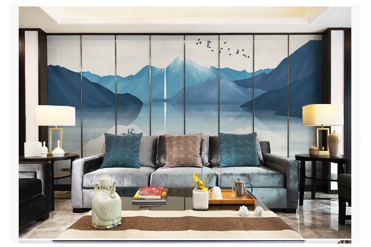 3D blue chinese ink landscape wall mural Wallpaper 127 Premium Non-Woven Paper-W: 210cm X H: 146cm