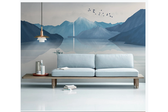 3D blue chinese ink landscape wall mural Wallpaper 127 Premium Non-Woven Paper-W: 320cm X H: 225cm