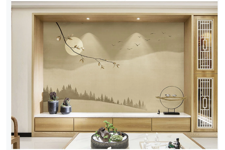 3D abstract chinese ink landscape wall mural Wallpaper 123 Premium Non-Woven Paper-W: 210cm X H: 146cm