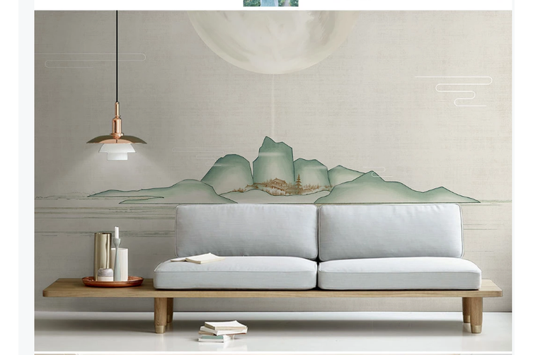 3D abstract chinese ink landscape wall mural Wallpaper 124 Premium Non-Woven Paper-W: 210cm X H: 146cm