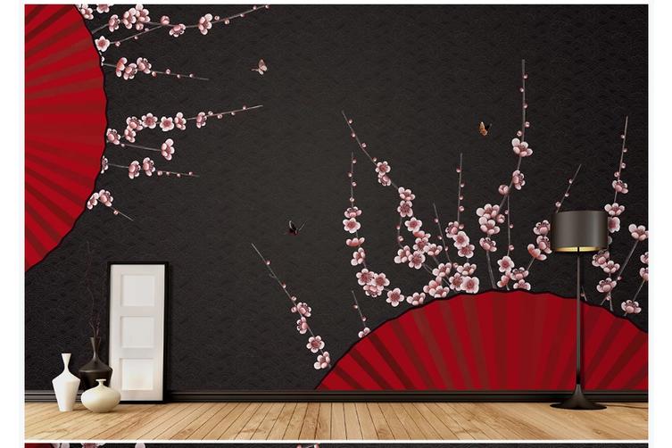 3D plum blossom red fan wall mural Wallpaper 123 Premium Non-Woven Paper-W: 420cm X H: 260cm