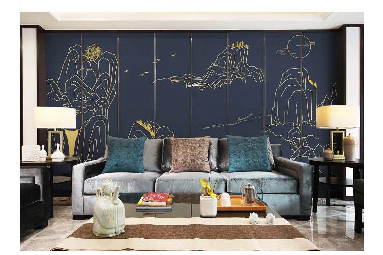 3D golden line drawing landscape wall mural Wallpaper 122 Premium Non-Woven Paper-W: 210cm X H: 146cm