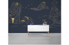 3D golden line drawing landscape wall mural Wallpaper 122 Premium Non-Woven Paper-W: 320cm X H: 225cm