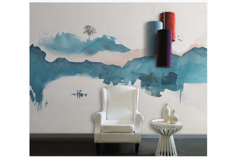 3D abstract chinese ink landscape wall mural Wallpaper 121 Premium Non-Woven Paper-W: 210cm X H: 146cm
