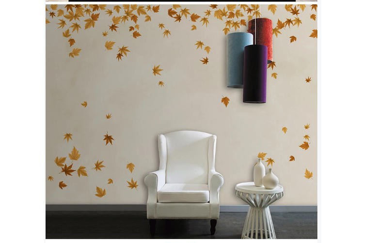 3D hand painting red maple leaves wall mural Wallpaper 119 Premium Non-Woven Paper-W: 210cm X H: 146cm