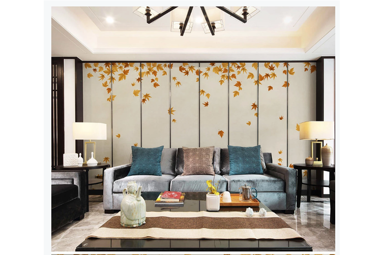 3D hand painting red maple leaves wall mural Wallpaper 119 Premium Non-Woven Paper-W: 525cm X H: 295cm