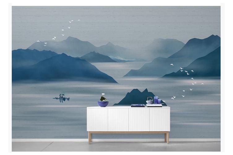 3D chinese ink landscape wall mural Wallpaper 115 Premium Non-Woven Paper-W: 525cm X H: 295cm