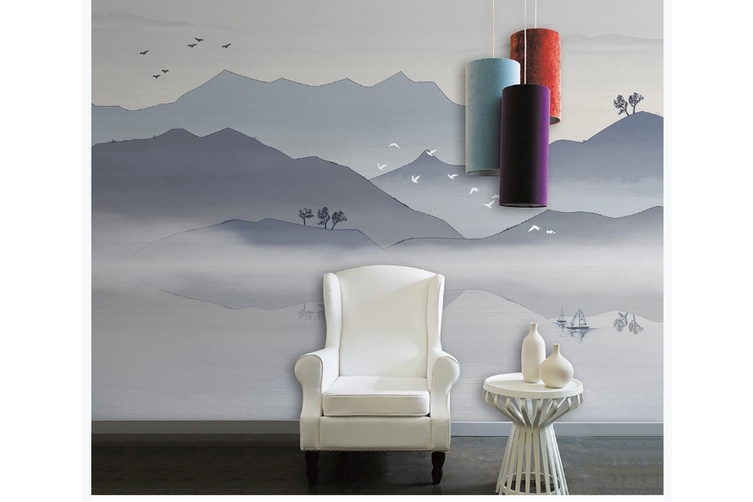 3D chinese ink landscape wall mural Wallpaper 112 Premium Non-Woven Paper-W: 210cm X H: 146cm